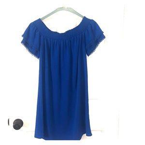 Blue off the shoulder swing dress